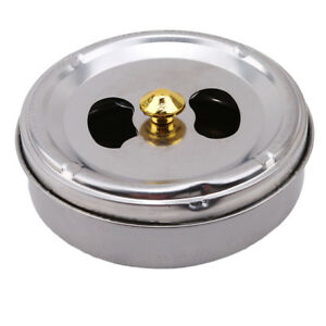 Stainless Steel Middle-sized Ashtray Lid Rotation Fully Enclosed Smoking Tray G