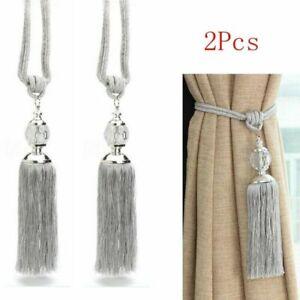 2PCS-Cuerda-Cortina-amarre-para-sostener-espalda-borla-Tiebacks-Plata-Decoracion-de-Bolas-de-Cristal