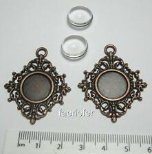 2 copper setting tray pendant frames blanks 14mm round with matching glass domes