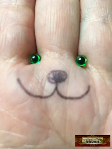 M00569-Green MOREZMORE 3 Pairs Small 4.5mm Plastic Toy Animal Doll Iris Eyes DWS