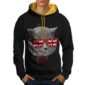 British uomo oro da Shorthair New cappuccio Felpa Black cappuccio contrasto a con 7UxqESwBX