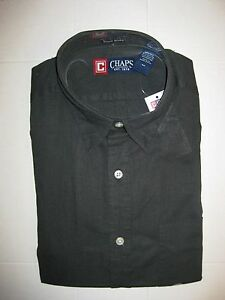 Chaps mens black dress long sleeve linen blend shirt sz s for Chaps mens dress shirts