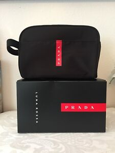 11b40b29c3f2 Prada Luna Rossa Black/ Red pouch Travel bag Toiletry Dopp Kit ...