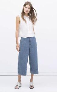 Zara-Womens-Denim-Cullotte-Shorts-Size-Large-Jeans-Wide-Leg-Blue-Wash-BNWT