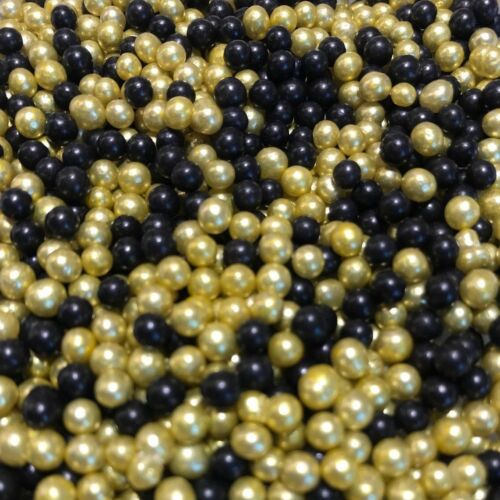 BLACK /& GOLD EDIBLE PEARLS SPRINKLES SUGAR BALLS CAKE DECORATIONS 100/'s 1000/'s