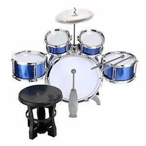 Kids-Drum-Set-Kids-Toy-with-Cymbals-Stands-Throne-Blue-Silver-Boys-Toy-Drum-Kit