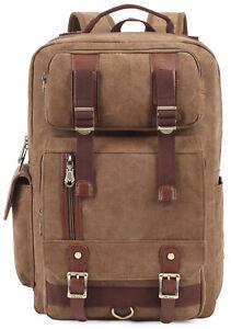 807a6d6f0d877 Das Bild wird geladen Canvas-Rucksack -Vintage-Reise-Schulrucksack-KAUKKO-Laessige-Laptop-