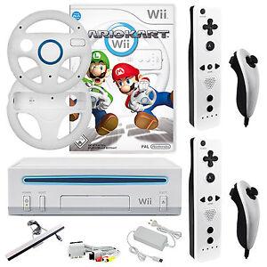 ✨ Nintendo Wii Konsole ✨ Mario Kart ✨2x Remote & 2x Nunchuck 2x Lenkräder Neu✨