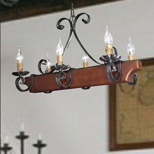 Lampadari In Legno Rustici.Dettagli Su Lampadario Rustico 6 Luci In Ferro Forgiato A Mano E Legno Color Noce Per Cucina