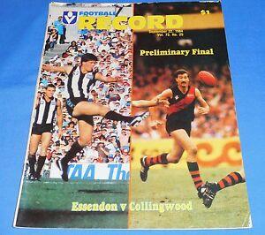 1984-AFL-Football-Footy-Record-Preliminary-Final-Essendon-Collingwood-No-Scores