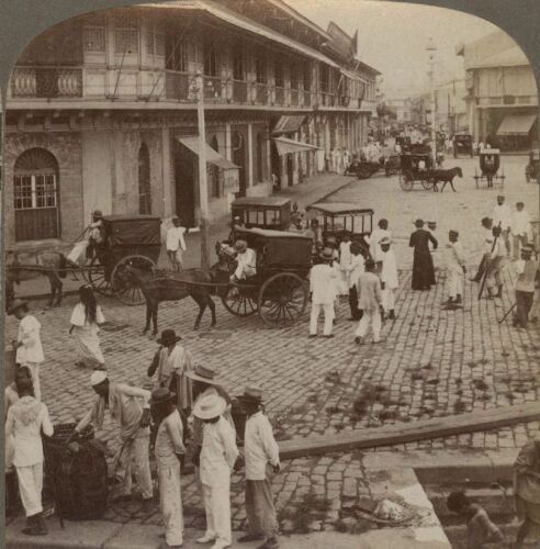 Philippines. Rosario Street & Binondo Church From Pasig River Manila. Stereoview