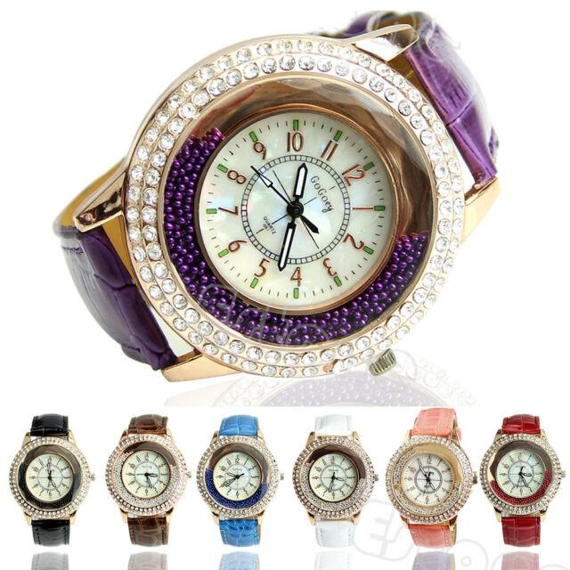 New Vogue Women Watches Crystal Dial Quartz Analog Leather Bracelet Wrist Watch