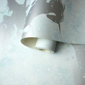 Licornes-Silhouettes-Etoile-Sentiers-Papier-Peint-Sarcelle-Argent-Enfants