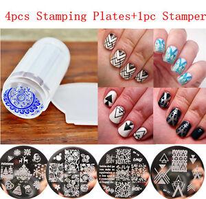6Stk-Set-Born-Pretty-4-Nagel-Stamping-Schablone-Platte-mit-1-Stamping-Karte