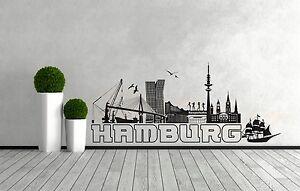 Wandtattoo-Hamburg-Skyline-maritim-Hanseatik-Hafen-City-Deko-Aufkleber-Sticker