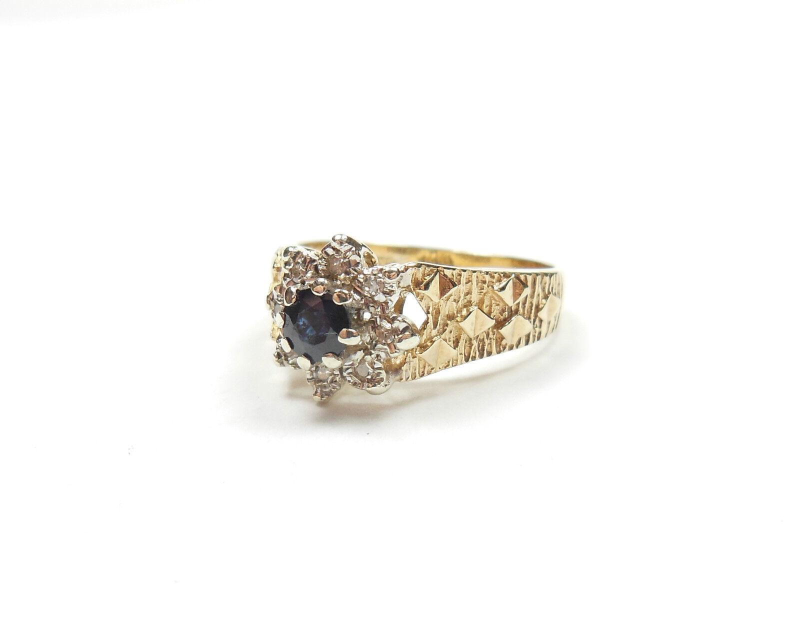 VINTAGE Zaffiro E Diamante Grappolo Anello oro Giallo 9 CARATI CARATI CARATI 1976 3.4g dfcf5a