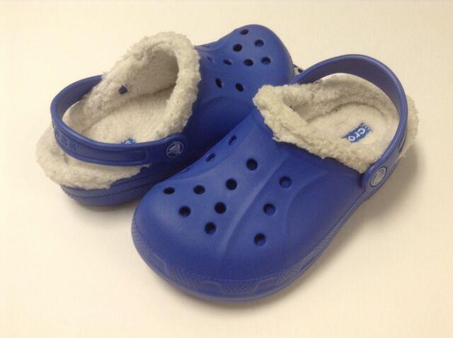 Crocs Feat / Relen Lined Kids Boys Sea Blue / Oatmeal C6/7 --- C12/13 J1 J2 J3