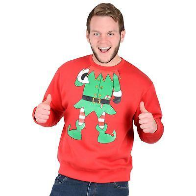 Unter Der Voraussetzung Adults Unisex Novelty Red Christmas Sweatshirt Jumper - Green Elf Suit Small