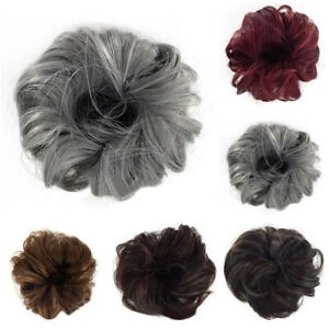 Real-Natural-Curly-Messy-Bun-Hair-Piece-Scrunchie-Thick-Fake-Hair-Extension