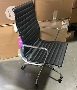 Details about Herman Miller Eames Aluminum Group Executive Chair Manual  Black ColorGuard Vinyl