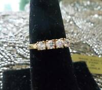 Park Lane Special Award Ring - Gold + 4 Cz's Band - Size 9 - Sparkling & Pretty