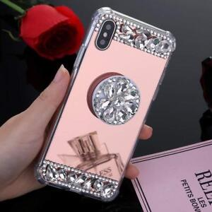 cheaper d8289 fdd37 Details about Hot 3D Luxury Diamond Airbag Bracket Fashion Mirror Case  Cover For iPhone 7 8 X