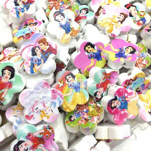 10-50-100-pcs-Princess-Flower-Wood-Painting-Sewing-Buttons-Scrapbooking-WB397