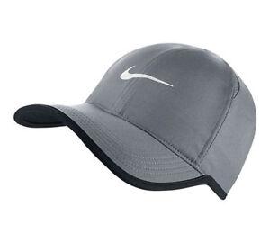 New NIKE Dri-Fit Feather Light Hat Cap GREY WHITE 679421 GRAY ... 0e98b009615