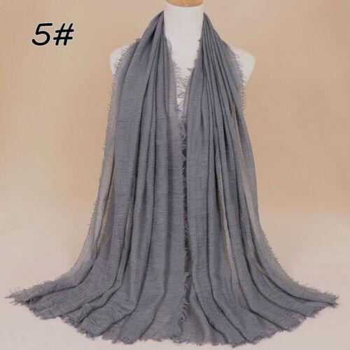 Damen Crinkle Crimp Schal Hijab Kopftuch Wraps Maxi Plain Color Schals Scarves