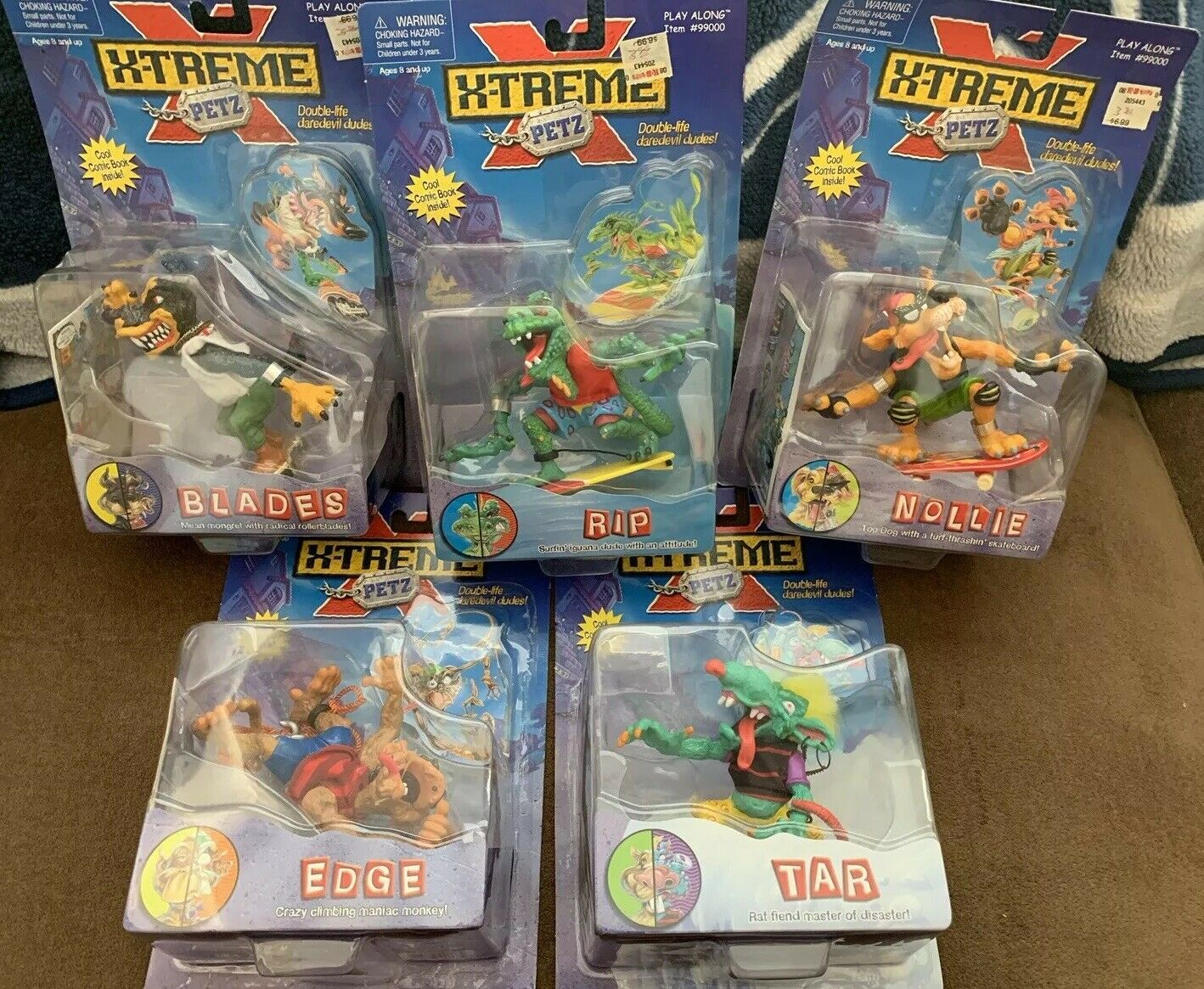 Lot of 5 Different X-Treme Petz Figures Rip ,Edge, Nollie, Tar, Blades -New