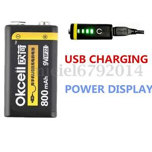 1-2x-OKcell-9V-800mAh-USB-Rechargeable-Lipo-Battery-Pr-RC-Helicopter-Microphone