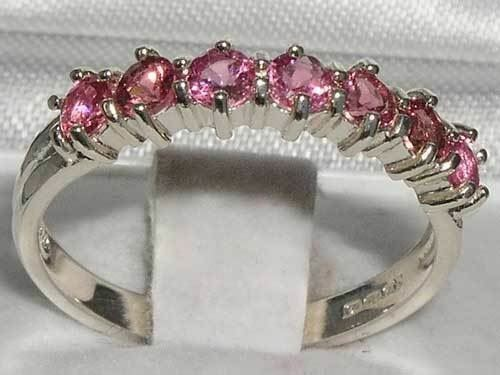 Fully Hallmarked Solid 925 Sterling Silver Natural Pink Tourmaline Eternity Ring