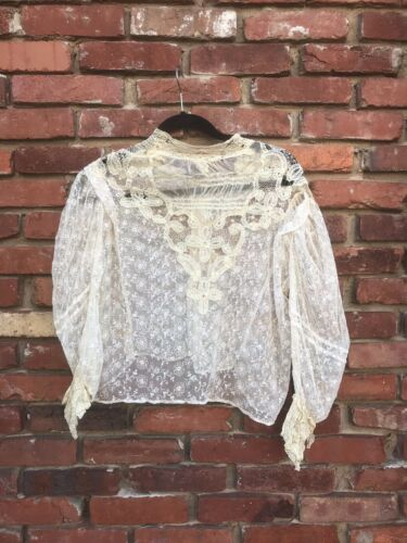Antique Victorian Edwardian white mesh tulle embro