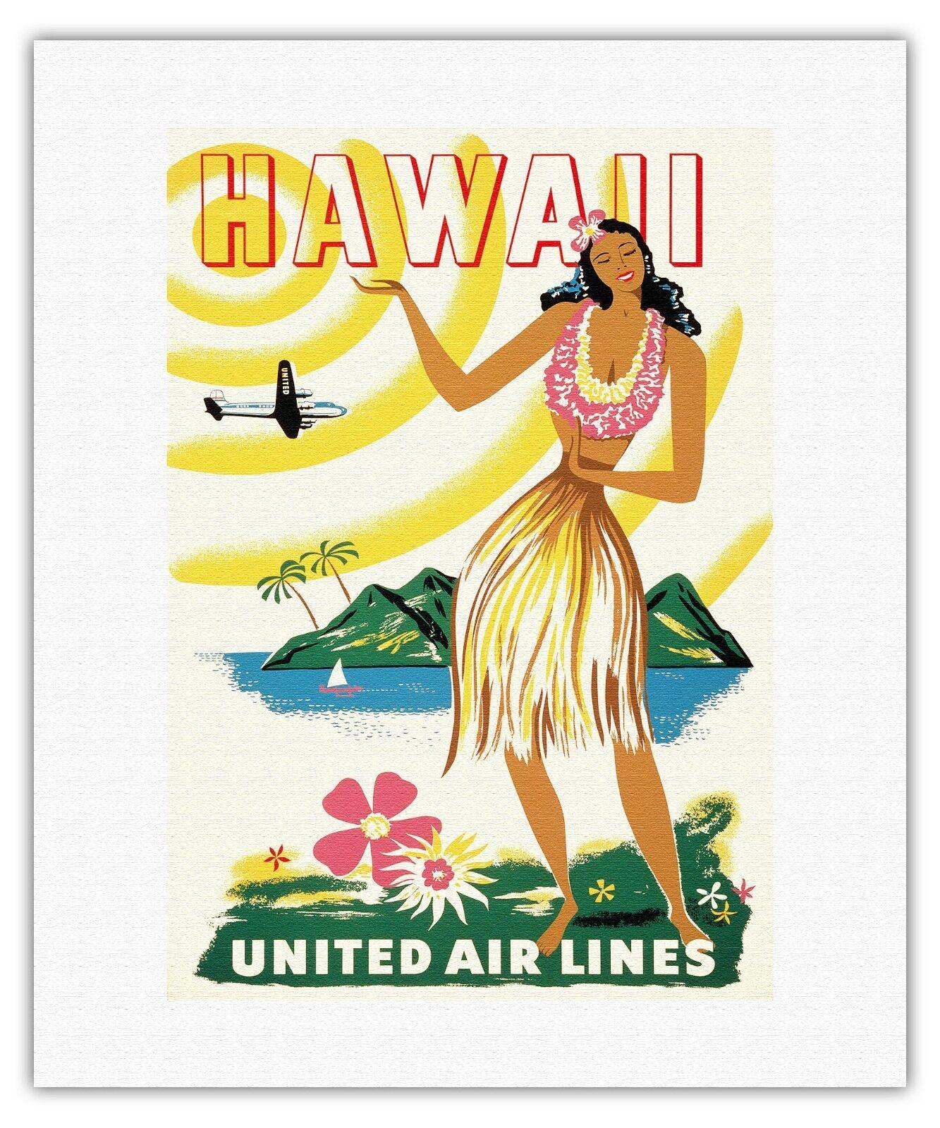 Lei Aloha Hawaiian Hula Dancer Rapozo Flower Vintage Art Poster Print Giclee