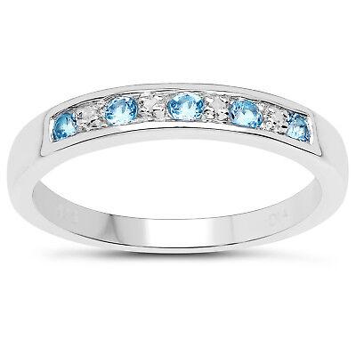 Sterling Silver 6mm width Blue Topaz /& Diamond Channel set Eternity Ring H to W