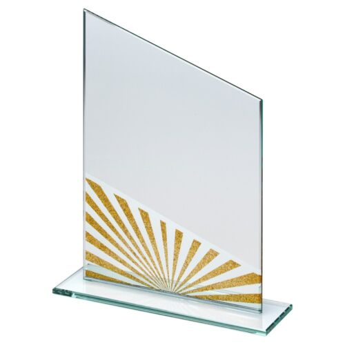 Gold Sun Ray Glass Plaque LOGO /& TEXT ENGRAVED F.O.C. NEW FOR 2019  3 sizes