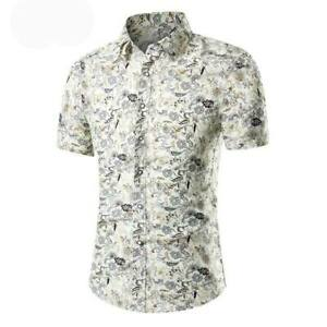 Luxury-formal-casual-short-sleeve-summer-t-shirt-dress-shirt-slim-fit-floral