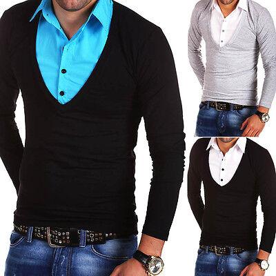 BEHYPE 2in1 Longsleeve Polo Shirt T-Shirt Hemd Schwarz/Weiß/Grau Pullover NEU
