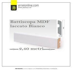 Battiscopa zoccolino in LEGNO MDF laccato bianco L 240 x H 8 x P 1,4 prezzo a PZ