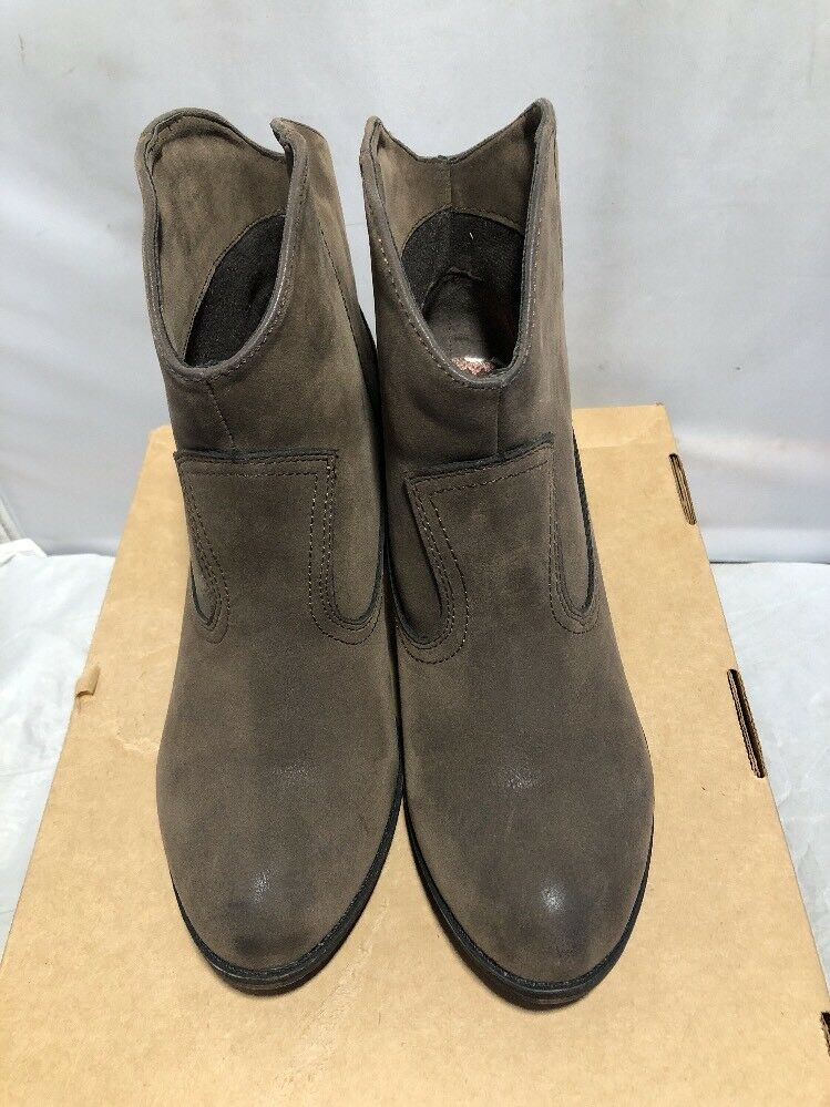 CUTE WOMENS ROCKETDOG BROWN FAUX LEATHER SLIP ON  BOOTS SIZE 10 NICE