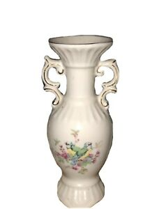Vintage-Bud-Porcelain-Vase-6-inch-Tall-Two-Handles-Floral-With-A-Bird-On-Side