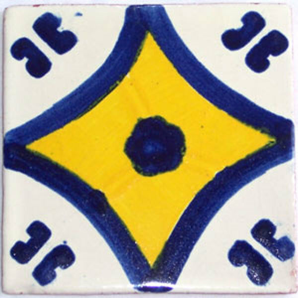 C080- Mexican Handmade Talavera Clay Tile Folk Art 4x4