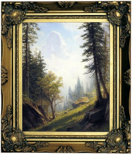 Bierstadt Among the Bernese Alps Wood Framed Canvas Print Repro 8x10