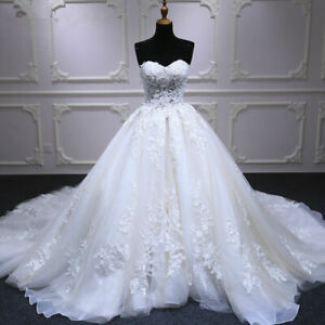 White-Ball-Gown-Wedding-Dresses-Appliques-Lace-Beaded-Bridal-Gown-Court-Train