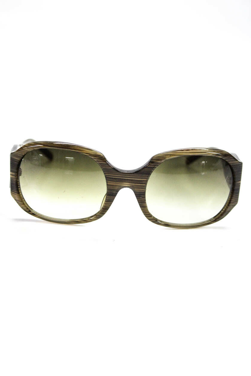 Christian Roth Womens Oversized Round Tinted Sunglasses Brown Green