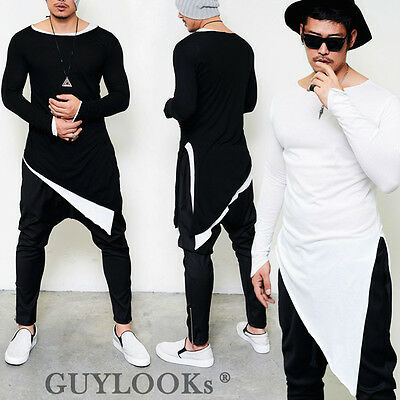 Avant-garde Mod Mens Unbalance Diagonal Cut Triangle Cuff Round Long Tee Guylook