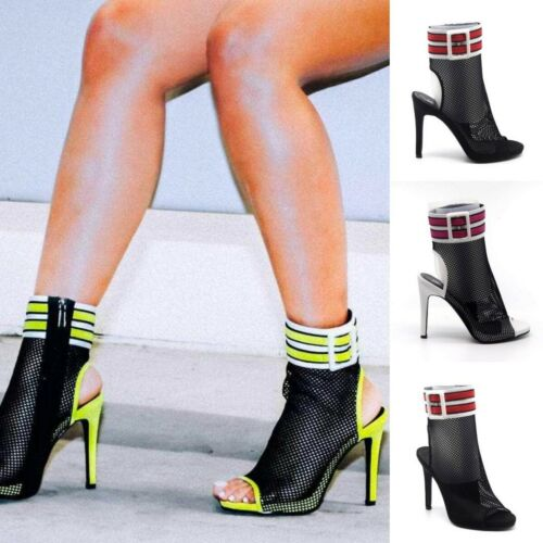 Netted mesh Open Toe Ankle Cuffed booties High Heels Stilettos Pump Size H223