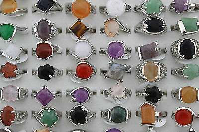 Wholesale Mix Lots 10pcs nature stone Silver P Colorful Lady's rings Party Gift