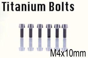 x4 CNC Ti Titanium Bolt M4x10mm Tapered Head Hex M4 10L Bicycle Bike Ti Screw