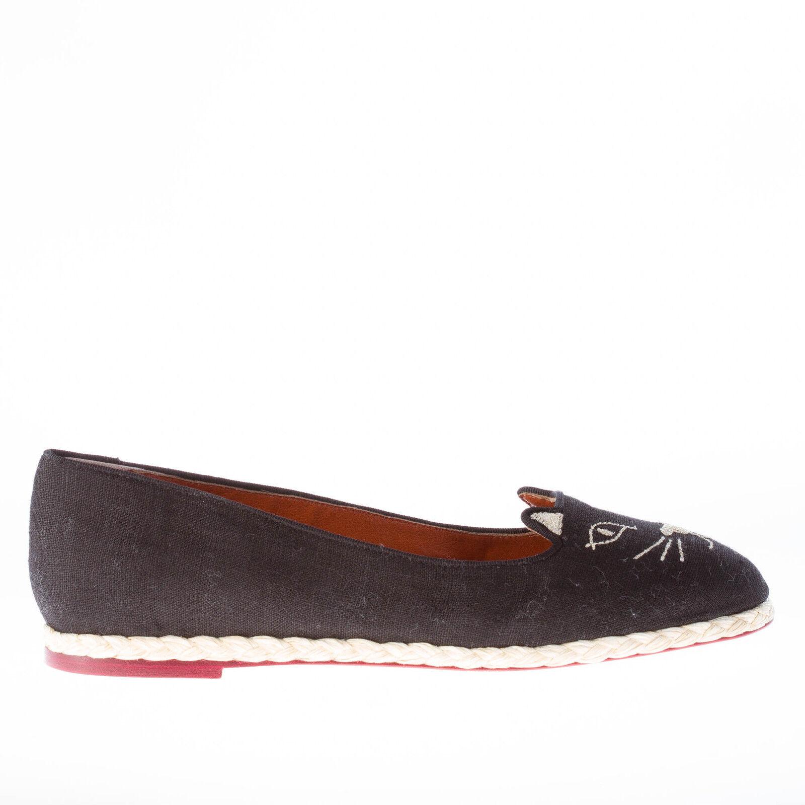 Charlotte Olympia Mujer Mujer Mujer Zapatos Negro Lino Capri Gatos ESPADRILLAS Plano oro Kitty  tienda en linea